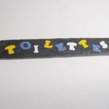 Plaque de Porte Multicolore en Ardoise Emaillée, a Poser sans Trou, Création Artisanale