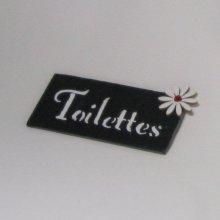 Plaque de Porte Toilettes en Ardoise avec Lettres Emaillées, a Poser sans Trou, Création Originale