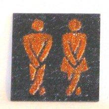 plaque de porte toilette wc émaillé cuivré sur ardoise