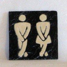 plaque de porte wc toilette ardoise et émaille ivoire