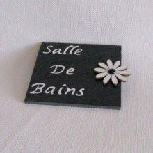 Plaque de Porte pour Salle de Bains en Ardoise Emaillée Blanc, Création Fait Main
