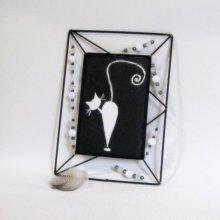 Deux Tableaux Chats Emaillés sur une Ardoise et Cadre Métal Noir et Perles, Créations Artisanales
