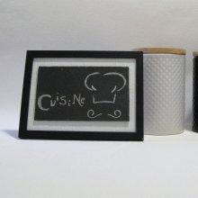 Tableau Déco pour la Cuisine en Ardoise Emaillée Argent sur un fond Blanc et Noir, Création Unique