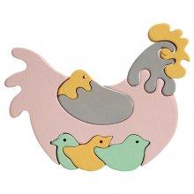 Puzzle en bois enfant La Poule et poussins tons pastels