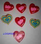 Boutons plastique coeur rouge lot de 7 de 25 mm pour la couture
