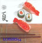 Serviette papier Asie et sushis 33 cm x 33 cm
