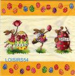Serviette papier 3 lapins de Pâques
