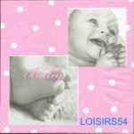 Serviette papier naissance fille - 33 cm x 33 cm