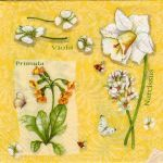 Serviette papier tulipes jaunes