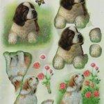 Feuille 3D 2 chiens bruns