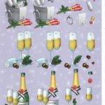 Feuilles 3D champagne et nouvel an