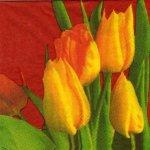 Serviette papier 4 tulipes jaunes 33 cm X 33 cm 3 plis