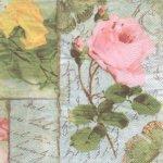 Serviette papier 3 roses - 33 cm x 33 cm