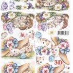 Feuille 3D chat et fleurs