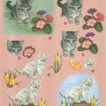 Feuille 3D chats et fleurs jaune