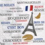 Serviette papier France et fromages  33 cm X 33 cm 3 plis