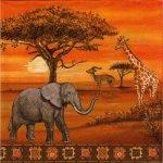Serviette papier girafe et antilope 33 cm X 33 cm 3 plis