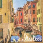 Serviette papier Italia et Venise 33 cm X 33 cm 3 plis