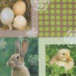 Serviette papier lapin Pâques et poussin 33 cm X 33 cm