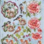 Feuille 3D mésange et fleurs