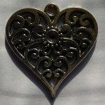 Pendentifs coeur Breloque métal strass 25 mm pour bracelet lot de 5 pièces