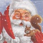 Serviette papier Père Noël et écureuil 33 cm X 33 cm 3 plis