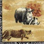 Serviette papier Tigre et savane Africaine 33 cm X 33 cm