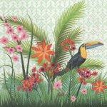 Serviette papier Toucan et fleurs 33 cm X 33 cm 3 plis
