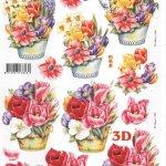 Feuilles 3D tulipes et seau