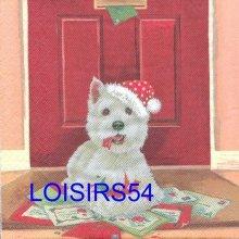 Serviette papier chien avec bonnet de Noël