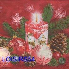Serviette papier bougie de Noël et boules