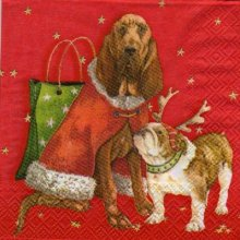 Serviette papier 2 chiens de Noël 25 cm X 25 cm 3 plis