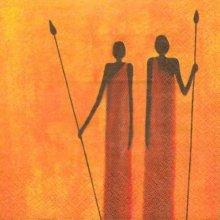 Serviette papier Afrique 2 guerriers 33 cm X 33 cm 3 plis