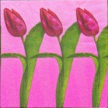 Serviette papier motif fleurs 3 tulipes 33 cm X 33 cm 3 plis