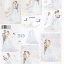 Feuille 3D couple de marié