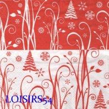 Serviette papier Noël et flocon 33 cm x 33 cm pour la décoration de table