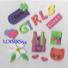 Stickers girls autocollant mousse pour décoration