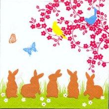 Serviette papier motif 5 lapins  de Paques