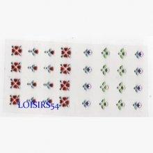 Strass fleurs 0.7 mm autocollant lot de 32 pièces pour décoration