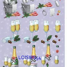 Feuille 3D champagne et nouvelle année