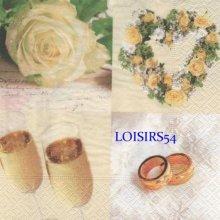 Serviette papier mariage et alliance 33 cm x 33 cm 3 plis