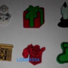 Lot de 6 cabochons Noël plastique de 20 mm pour la couture