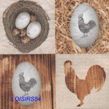 Serviette papier oeufs et poule de Pâques - 33 cm x 33 cm
