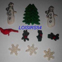 Lot de 7 boutons hiver résine plastique de 20 mm pour la couture