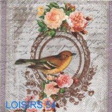 Serviette papier oiseau et roses - 33 cm x 33 cm