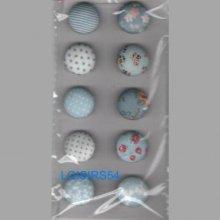 Lot de 10 boutons tissus couleurs clairs 18 mm pour la couture
