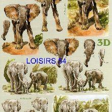 Feuille 3D  éléphants et Afrique