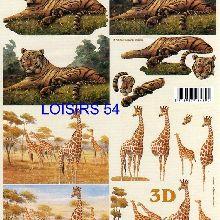 Feuille 3D  girafe et tigre