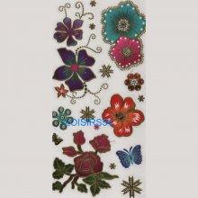 Stickers autocollant rose et papillon