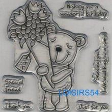 Tampon transparent petit ourson pour décoration 6 pièces